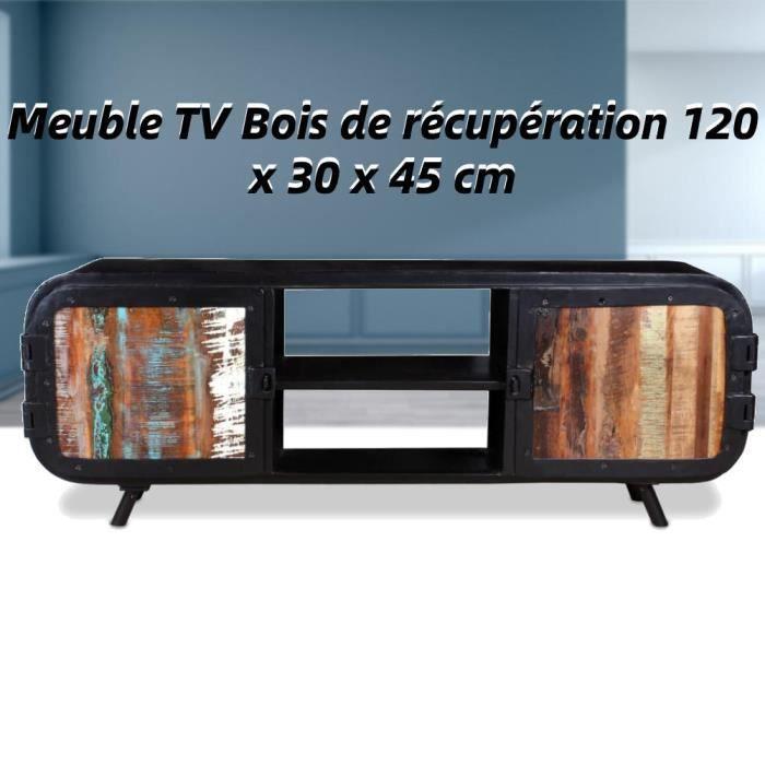 Meuble TV fer et bois de récupération 120 x 30 x 45 cm Noir LAG-2