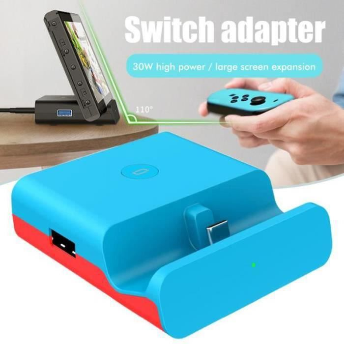 AWY22298-Support de charge station de charge pour Switch TV Convertisseur Adaptateur Support Type-C Chargeur Support Bleu