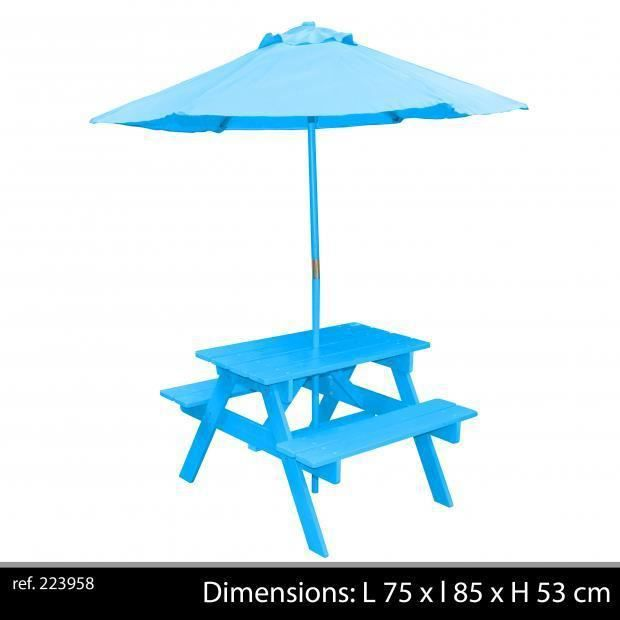 table jardin enfant avec parasol banc int gr s couleur bleu table pique niq 75 x 85 x h 53. Black Bedroom Furniture Sets. Home Design Ideas