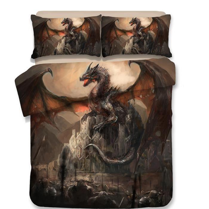 HOUSSE DE COUETTE ET TAIES Parure de Couette Dinosaure Imprimée 1 Housse de C