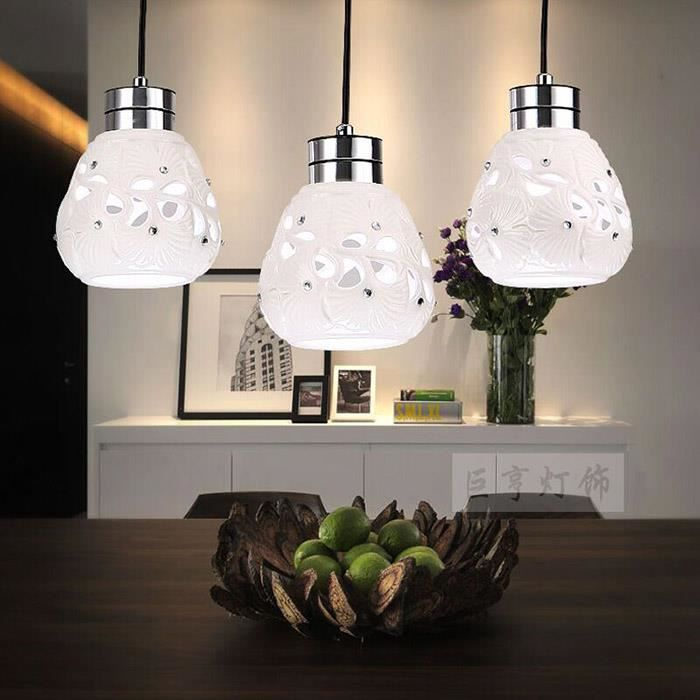 suspension led cristal c ramique 3 ampoules cr ative simple du bar c02 achat vente. Black Bedroom Furniture Sets. Home Design Ideas