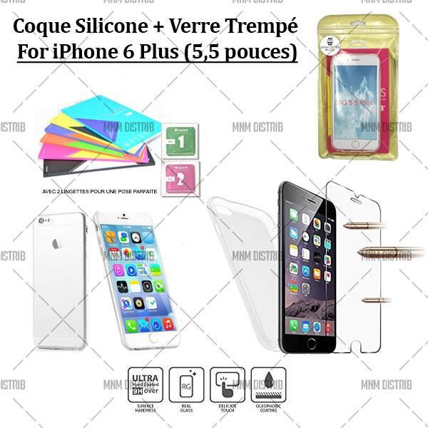pack 360 coque gel silicone verre tremp iphone 6 plus 5 5 mnm distrib achat coque. Black Bedroom Furniture Sets. Home Design Ideas