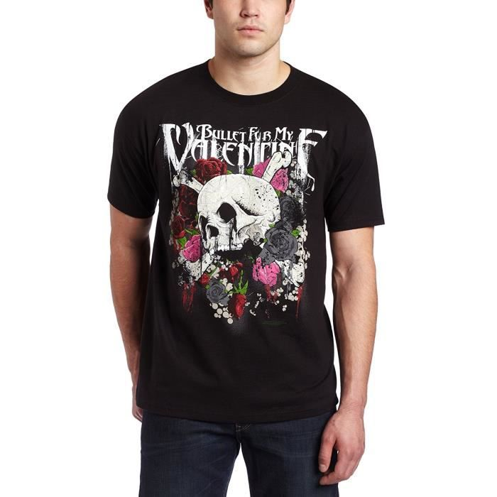 Homme s Bullet For My Valentine Skull N Roses T shirt Homme Cotton  Irregular Tshirts Popular Top Tee Fashion 13a517ad9404