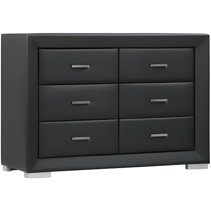 commode basse capitole 6 tiroirs simili noir achat vente commode de chambre commode. Black Bedroom Furniture Sets. Home Design Ideas