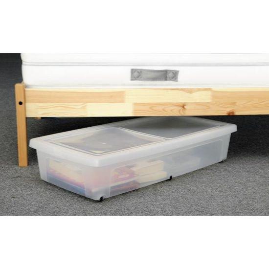 Iris Ohyama Lot De 2 Boites De Rangement Sous Lit Modular Clear Box Mcb Ub Plastique 35 L 80 X 40 X 16 Cm Transparent Achat Vente