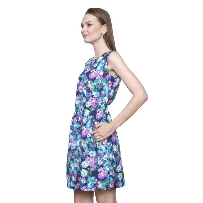 Womens Floral Printed Crepe Dress (tnu0042b) XE501 Taille-34