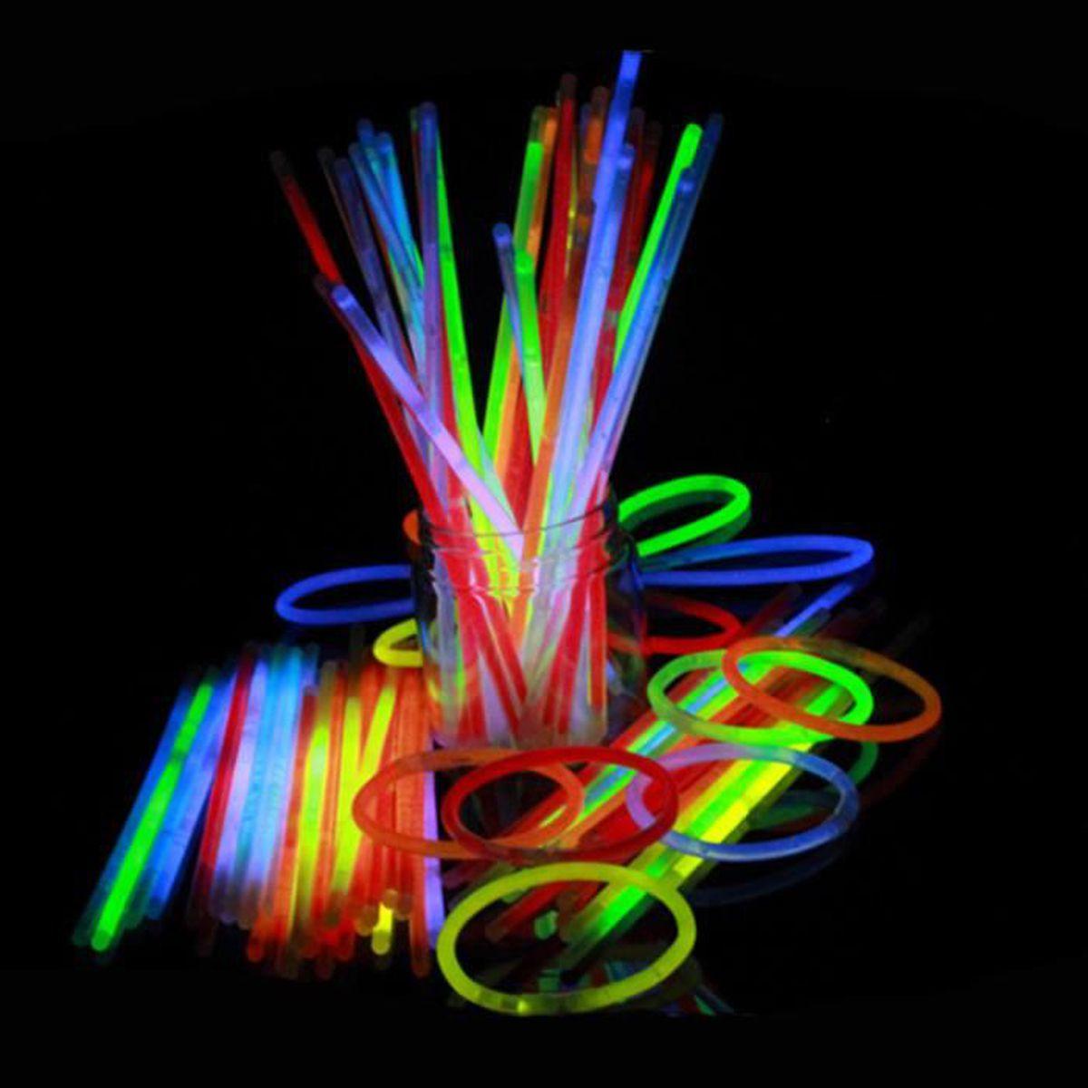 300 Pièce Bâtons Fluorescents Lumineux Fête Avec Connecteurs