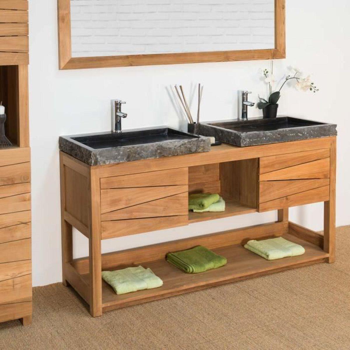 Espace Entre 2 Vasques meuble double en teck massif cosy 160cm + 2 vasques noir