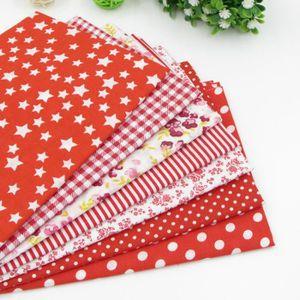 TISSU 7pcs 50cm * 50cm Rouge Tissu en coton pour couture