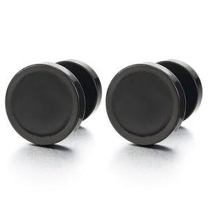 10-12MM Noir et Blanc Cercle Boucles doreilles Homme Femme Bouchon Jauge doreille Faux Cheater Fake Gauges Plugs Acier