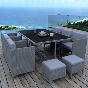 Ensemble table et chaise de jardin MUNGA 10 Places - Ensemble encastrable salon - tab
