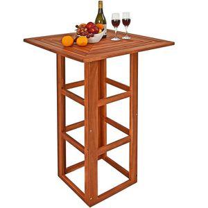 DESSERTE DE JARDIN Table de bar carrée Table haute en bois d'acacia 7