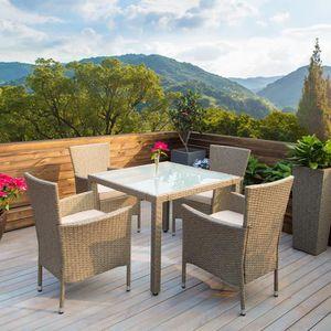 DEUBA | Salon de jardin - Polyrotin • 1 table / 4 chaises + coussins |  Chaises empilables | Résistant aux intempéries, mobilier