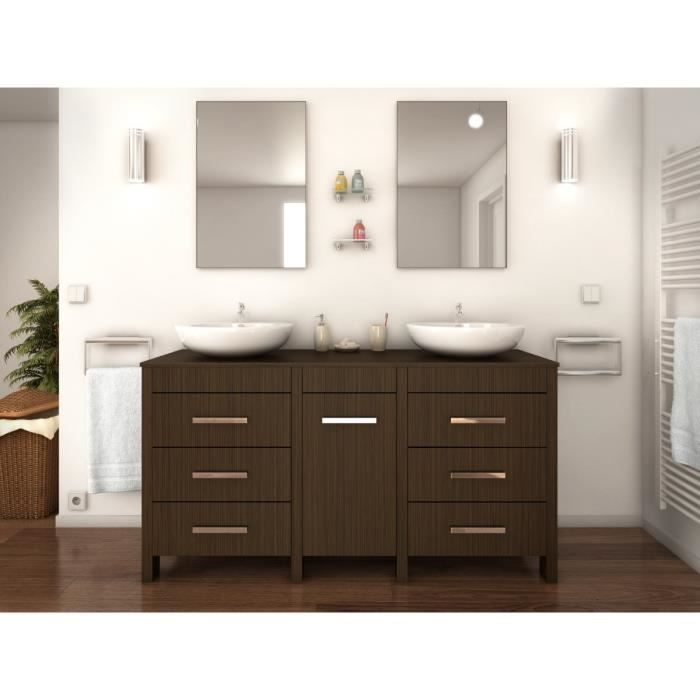 era ensemble salle de bain double vasque l 150 cm d cor bois zebrano achat vente salle de. Black Bedroom Furniture Sets. Home Design Ideas