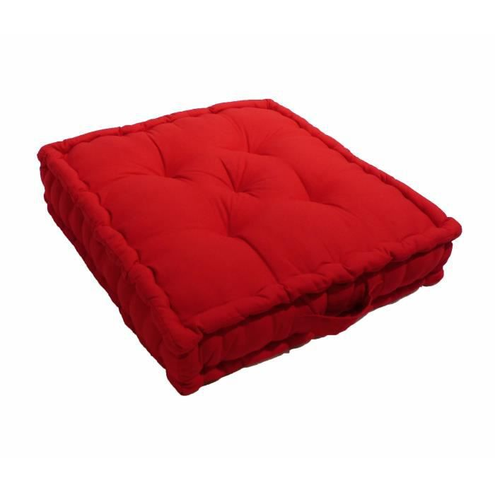 coussin de sol grand format 100 coton rouge 60x60x15cm achat vente coussin cdiscount. Black Bedroom Furniture Sets. Home Design Ideas