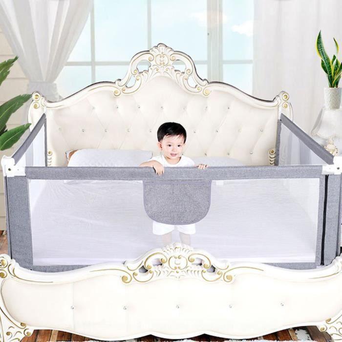 YUDAN 150cm Barrière de Lit Enfant, Pliable et Ajustable, Barrière de Lit Bebe Protection adaptées aux lits d'enfants 1 côté
