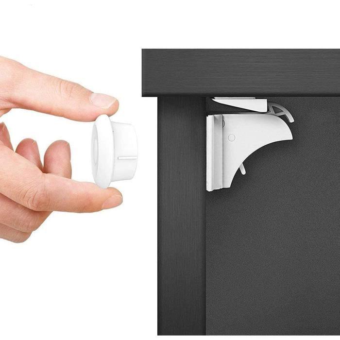 Dokon Sécurité Bébé Placard Bloque Porte (10 serrures + 2 Clés), Sécurité Enfant Tiroir Armoires Verrous Magnétique Cabinet de sécur