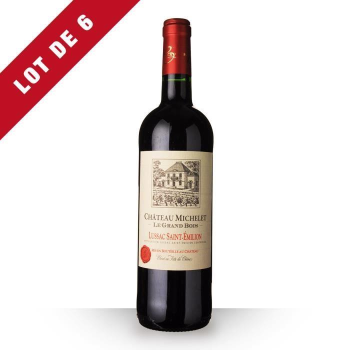 6x Château Michelet le Grand Bois 2016 AOC Lussac-Saint-Emilion - 6x75cl - Vin Rouge