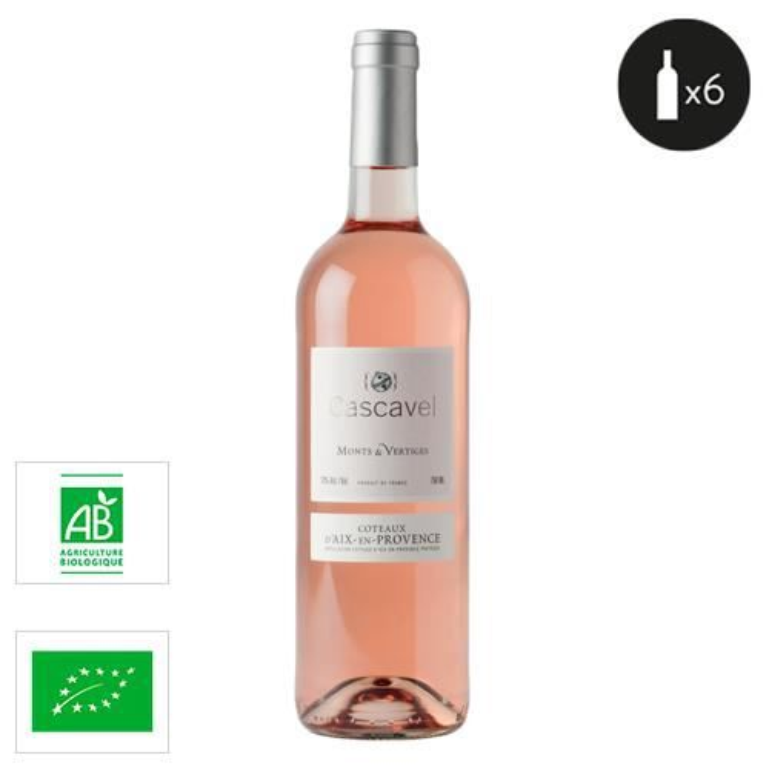6 bouteilles - Vin rose - Tranquille - Cascavel - Certifié Biologique - Monts & Vertiges Coteaux d'Aix-en-Provence Rosé 2020...