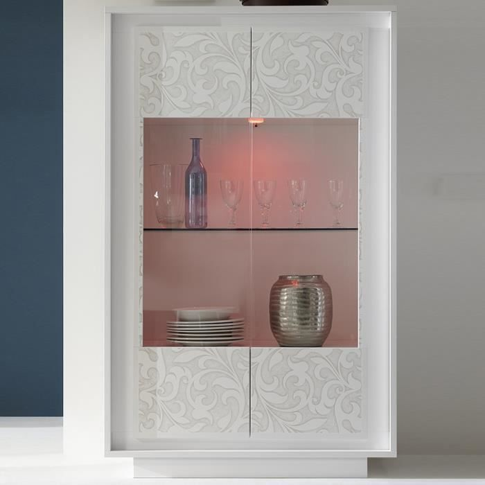 Vitrine blanc laqué mat avec motifs fleurs FANTINE LED à couleurs multiples L 106 x P 50 x H 171 cm Blanc