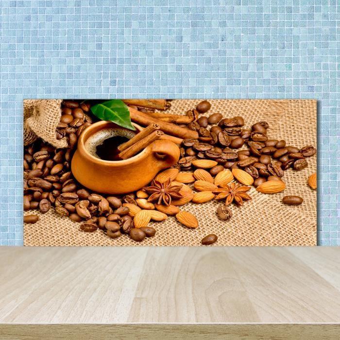 Tulup 100x50cm Crédence de cuisine sur verre sécurité:- Nourriture boissons - Grains De Café Une Tasse - Brun