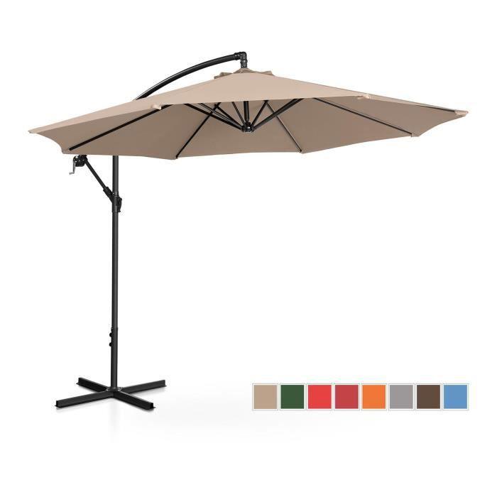 Parasol déporté de jardin Terrasse Protection Solaire Uniprodo UNI_UMBRELLA_R300CR (Crème, Rond, Rotatif, Ø 300 cm)