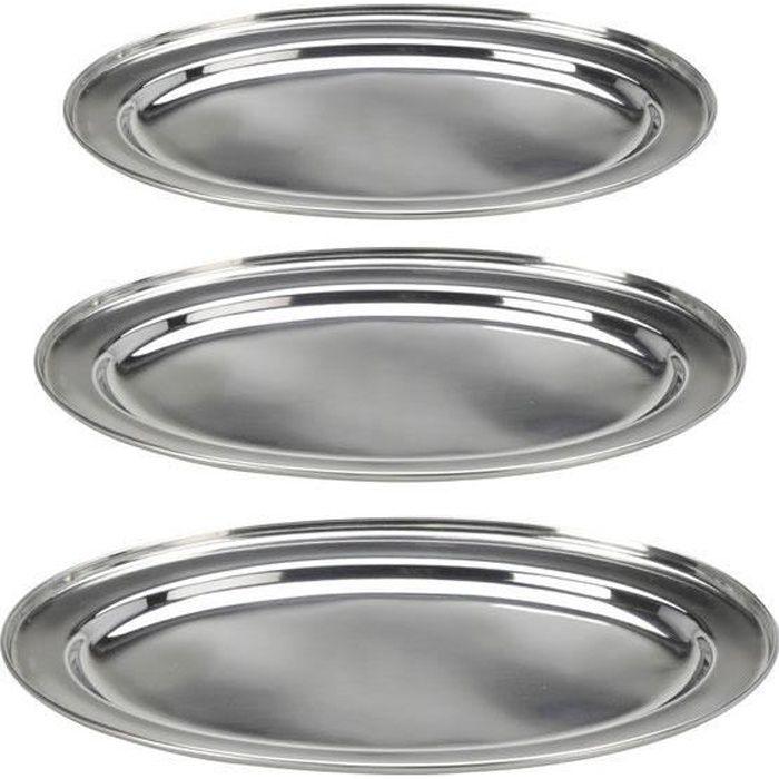 3 Plateaux ovales en acier inoxydable - plateau de service - plat de service