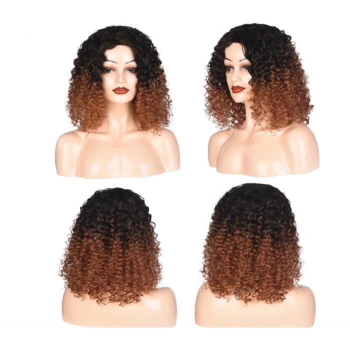 Perruque femme couvre-chef petite perruque frisée courte frisée noir brun clair