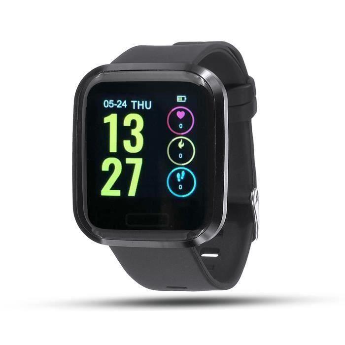 Cardiofréquencemètre - Montre Intelligent touche tactile pour Android iOS NOIR L42748