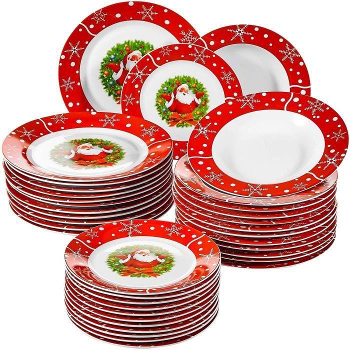 VEWEET, Série SANTACLAUS, Service de Table en Porcelaine pour 12 Personnes, 36 pièces, Assietes Plates, Assiettes Creuses, Assiettes