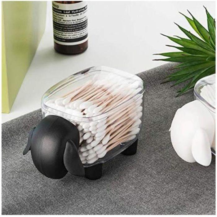 Mouton Boîte à Cases Rangement Maquillage Transparent pour Coton Tige et Coton, Porte-Cure-Dents Distributeur de Cure-Dents Noir