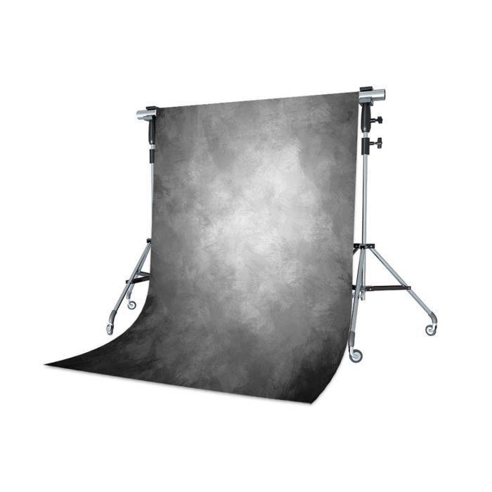 WaW 1.5x2.2m Fond Photo Studio Gris Gradient Plume Toile de Fond Portrait Décors pour Studio Photographie Vintage
