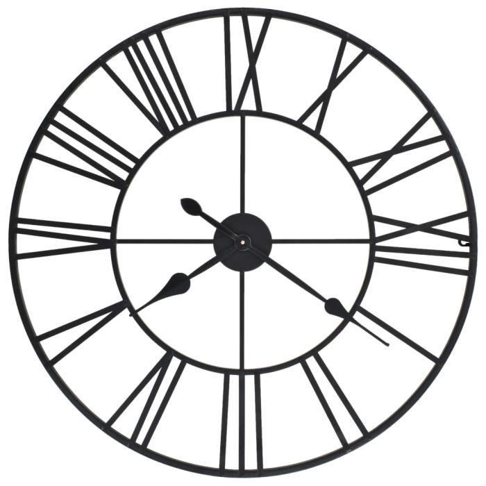 Horloge murale vintage avec mouvement à quartz Métal 80 cm XXL