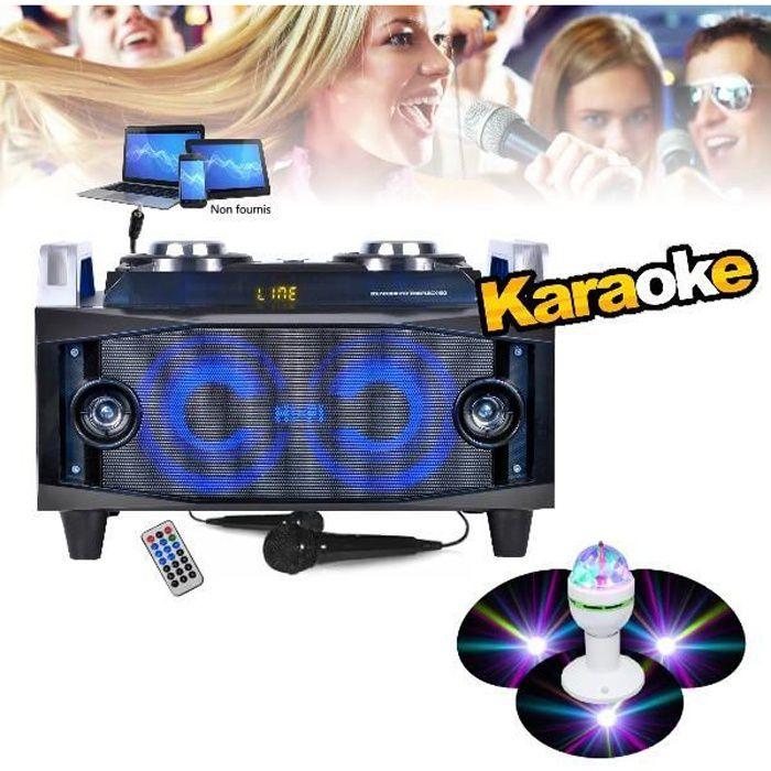 Enceinte Karaoké Hifi de haute qualité avec Radio FM Bluetooth Usb Mp3 + 2 Micros + câble PC + Jeu de lumière PA DJ Noël