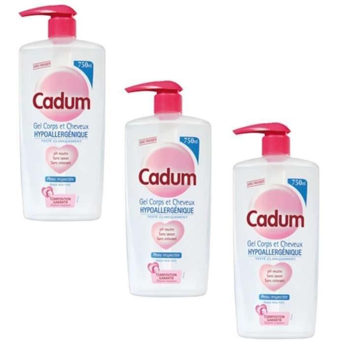 CADUM Gel corps et cheveux hypoallergéniques - PH neutre - 750 ml (Lot de 3)