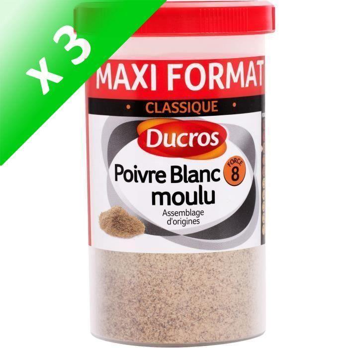 [LOT DE 3] DUCROS Poivre blanc moulu nº 8 classique - Boite ménagère - 90 g
