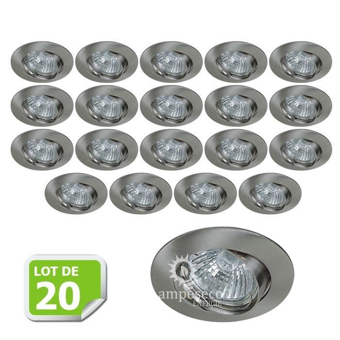 Lot de 20 Support encastrable orientable ronde pour ampoules halogènes, CFL ou LED diametre 81mm Couleur acier brossé ref.970
