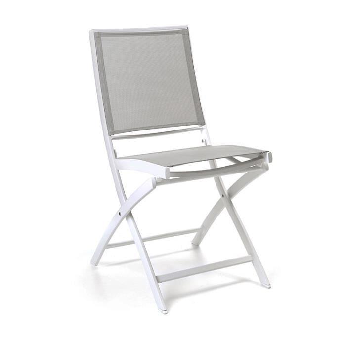 Chaise pliante alu blanc textilène gris clair Cassini