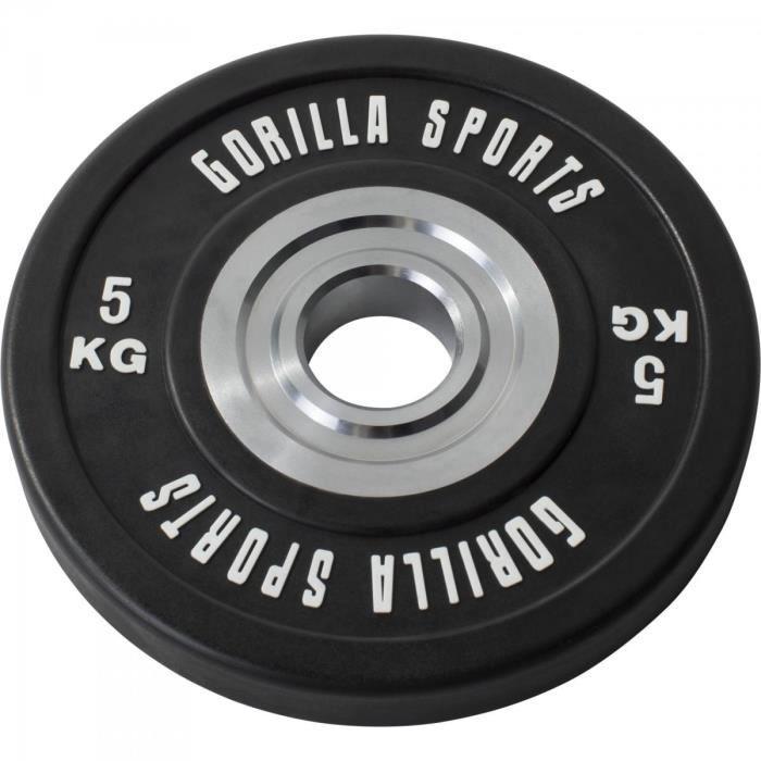 Gorilla Sports - 1 x Disque Bumper en caoutchouc renforcé Pros de 5 kg
