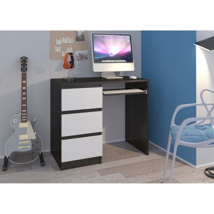 YORK L- Bureau moderne d'ordinateur 96x50x76 - Chambre Ado-Enfant - Support clavier 3 tiroirs - Wengé-Blanc