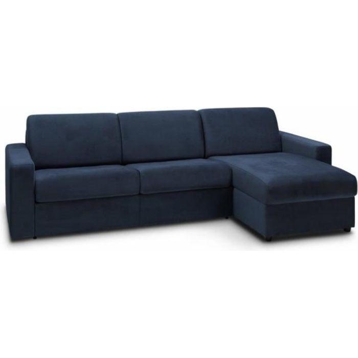 Canapé d'angle convertible NIGHT EDITION VELOURS rapido couchage 140 cm bleu marine bleu tissu Inside75