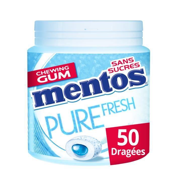 MENTOS GUM PURE FRESH Bottle de 50 dragées sans sucres - Menthe douce