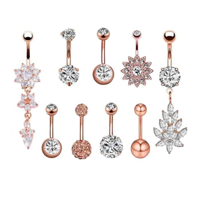 9pcs anneau de nombril en acier diamant exquis incrusté de ventre dangle bijoux piercing corps (or rose) LABRET