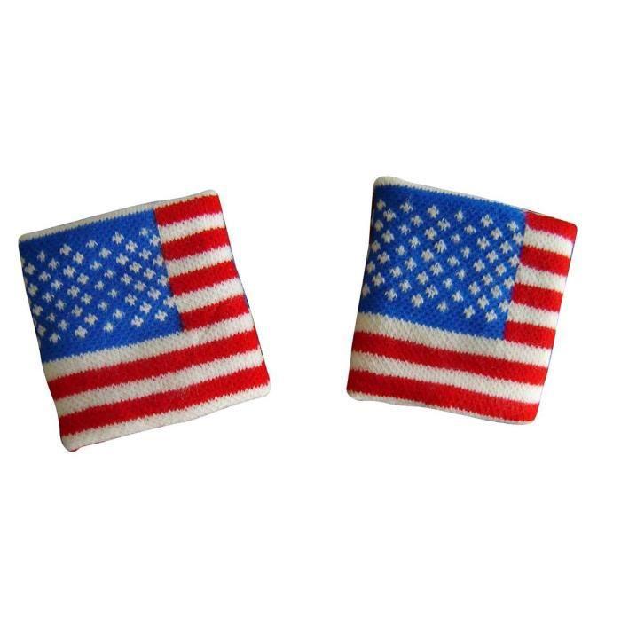 LOT 2 Bracelets poignet éponge 100% coton ETATS UNS USA AMERICAIN Sport Football Jogging Tennis - No maillot drapeau écharpe fanion