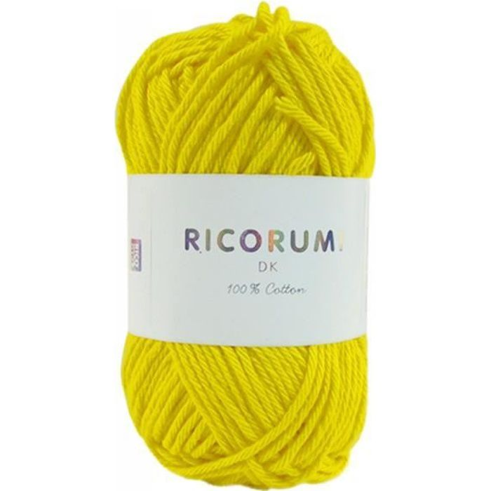 Coton RICORUMI pour Amigurumi, mini pelote 25g - 06 Jaune