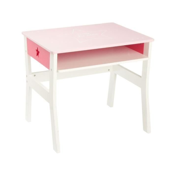 bureau rose pour enfant en bois achat vente bureau. Black Bedroom Furniture Sets. Home Design Ideas