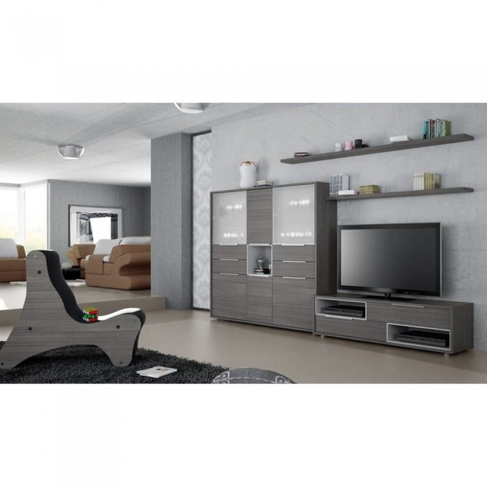 Meuble mural tv ismael couleur gris mati re mdf for Meuble tv mural gris