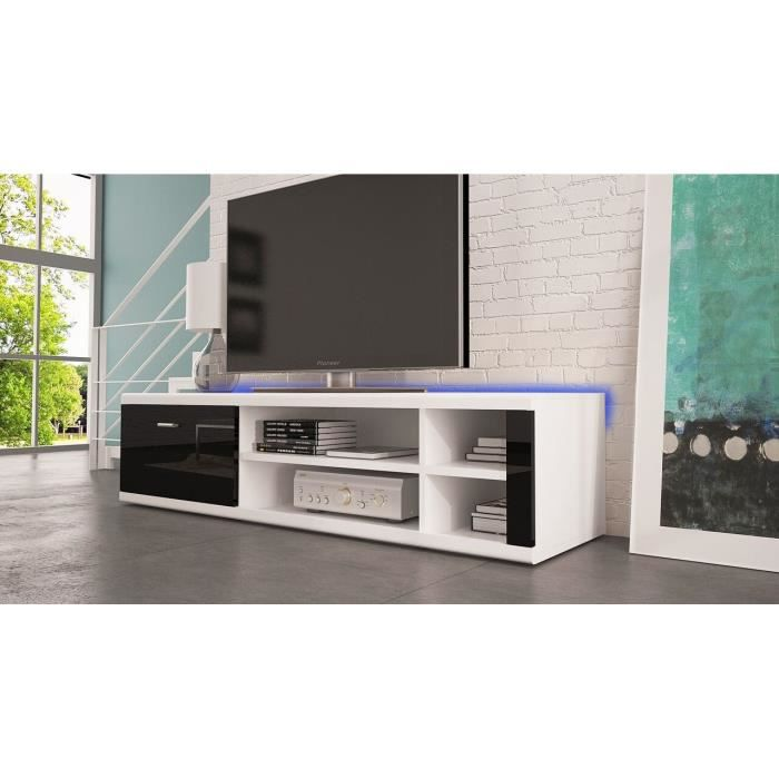 meuble tv ivo led blanc mat noir brillant fronts achat vente meuble tv meuble tv ivo. Black Bedroom Furniture Sets. Home Design Ideas