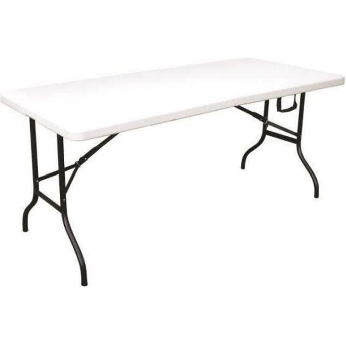 Table de Jardin Pliante PEHD Fiesta blanche - 8 Personnes - 180X76X74 CM