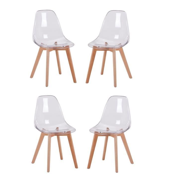 Pack 4 Chaises Transparentes Style Scandinave Assise En